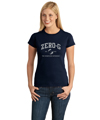 Ladies Distressed Print Tee - Navy